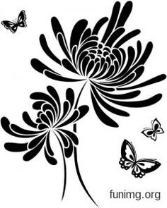= Трафареты - декор стен =. Обсуждение на LiveInternet - Российский Сервис Онлайн-Дневников Silhouette Tattoos, Silhouette Art, Paper Flower Patterns, Paper Flowers, Airbrush, Japanese Patterns, Love Drawings, Stencil Designs, Beauty Art
