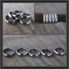 10 Stainless Steel Rings DREADLOCK BEADS 8mm Hole Dread *NEW* Hair Beads by lyndar85 on Etsy
