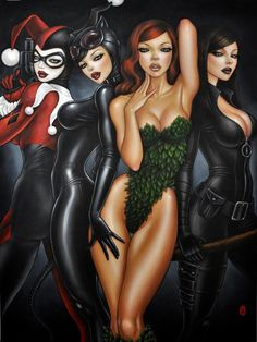 Bad Girls of Gotham: Harley Quinn, Poison Ivy, Catwoman, and Talia Al-Ghul. Catwoman Cosplay, Cosplay Gatúbela, Harley Quinn, Joker And Harley, Talia Al Ghul, Batman Kunst, Batman Art, Batman Poster, Batman Fight