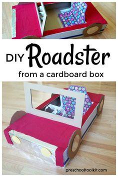 Easy Cardboard Box Car for Toddlers and Preschoolers – Cardboard Box – Box Design Big Cardboard Boxes, Cardboard Car, Cardboard Box Crafts, Cars Preschool, Toddler Preschool, Toddler Crafts, Toddlers And Preschoolers, Diy Karton, Movies Box