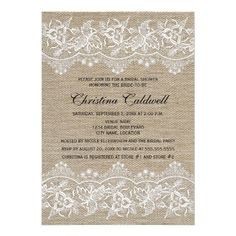 21 best inexpensive bridal shower invitations images on pinterest rustic jute and lace look bridal shower invitation filmwisefo