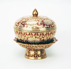 Highly Decorated Gilt China Bowl Lid and Tazza