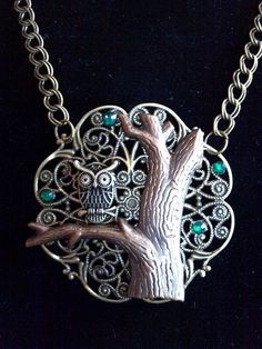 Steampunk Owl on Brass Tree Trunk Necklace by KreationsByKimH