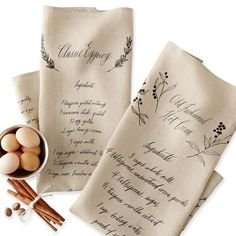 "Maybelle Calligraphy 100% Linen Tea Towels, Set of two, one with a recipe for Old Fashioned Hot Cocoa, the other is for Classic Eggog. 30"" high x 20"" wide ~ Mark and Graham."