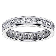 1.80 CT TW Princess Cut Diamond Eternity Anniversary Wedding Band in Platinum - Size 8