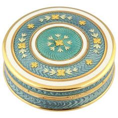 For Sale on - Rare and unusual white and teal enamel, on yellow gold pill box of French origin, possibly circa It features guilloche enamel. Some repair Gold Home Accessories, Gold Home Decor, Bottle Box, Antique Boxes, Pretty Box, Gold Box, Little Boxes, Pill Boxes, Cut Glass