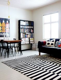 black and withe living area with colourful details