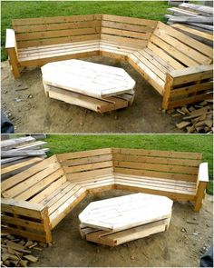 This six seaters wooden recycled garden bench plan with a unique design pallets table on a wheel is best to create for your garden seating needs. This pallets innovation is best for relaxing in leisure time and to enjoy your cup of tea with your partner in the beautiful open-air atmosphere.  #pallets #woodpallet #palletfurniture #palletproject #palletideas #recycle #recycledpallet #reclaimed #repurposed #reused #restore #upcycle #diy #palletart #pallet #recycling #upcycling #refurnish…