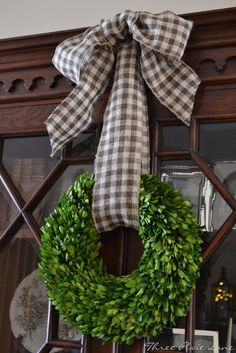 Grey check bow on boxwood~Three Pixie Lane: Christmas Simple