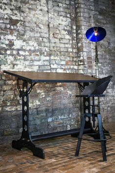 Drafting table stool and floor lamp all from adrianreynolds.co.uk handmade metalwork to commission.