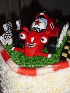 Homemade Roary The Racing Car Cake: Our soon to be 4 year old son Josh is infatuated with anything with wheels, particularly Roary, Mater and Lightning McQueen. After making a Mater cake
