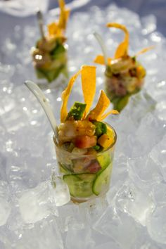 """LOVE the layer of round slivered Cucumbers at the bottom of the shot glass.  This Cucumber-Crab Ceviche with a splash of crunch with the fried wonton strips is """"get in my mouth"""" deliciousness!  Catering with a Twist www.cateringwithatwist.com"""