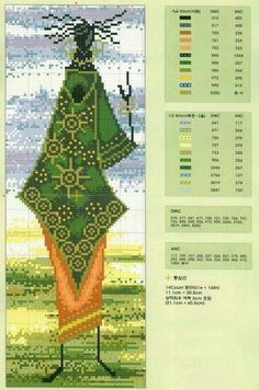 cross stitch african woman in green and orange Cross Stitch Love, Cross Stitch Charts, Cross Stitch Patterns, African Life, African Women, Embroidery Art, Cross Stitch Embroidery, African Artwork, Crochet Cross
