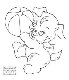 vintage baby embroidery designs | Vintage Embroidery Transfer Patterns – Cute Animals