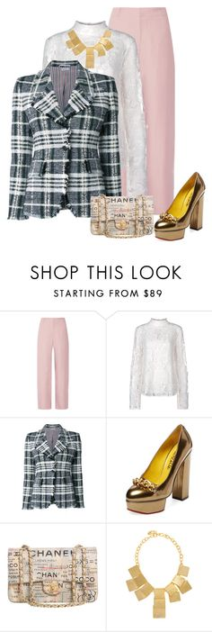 """Untitled #145"" by twisted1beauty ❤ liked on Polyvore featuring Acne Studios, Perseverance London, Thom Browne, Charlotte Olympia, Chanel and Kenneth Jay Lane"