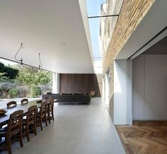 Private Home in Chiswick, London - modern - Dining Room - London - Found Associates Borrowed Light, Roof Architecture, Roof Light, House Extensions, Building A House, New Homes, House Design, Patio, Interior Design