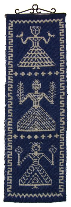 "Betty Rikansrud Nelson, Decorah, Iowa, ""Norse Goddesses"" wall hanging in double weave pickup, wool on wool, 2009."
