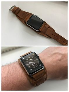 Apple Watch Series 2 with leather cuff band made of 60 year old leather - almost art :) : AppleWatch