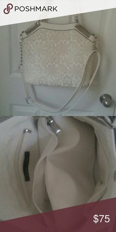 Wilson leather bag 2 in 1 White with lace front  The inside is a little dirt with make up  Other bag inside Wilsons Leather Bags Totes