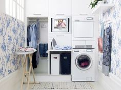 Have small laundry room? Got a boring laundry room? Need small laundry room design ideas? Don't worry, we're here to help you. Laundry Room Cabinets, Basement Laundry, Laundry Room Organization, Laundry Storage, Laundry Room Design, Storage Cabinets, Organization Ideas, Storage Ideas, Laundry Area