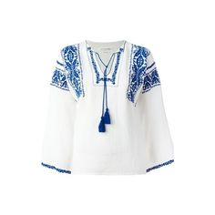 ISABEL MARANT ETOILE 'Vince' Blouse (4334400 BYR) ❤ liked on Polyvore featuring tops, blouses, white, white top, long white blouse, white cotton blouse, white cotton tops and white v neck top