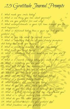 25 Gratitude Journal Prompts