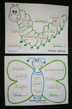 butterfly activities, caterpillar activities, grammar activities, adjective activities, adjective lessons, adjective worksheets, writing centers, daily 5 activities, adjective assessment,