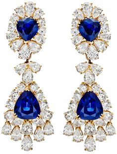 Van Cleef & Arpels sapphire & diamond chandelier earrings. Set with four pear-shaped sapphires weighing approximately 18.15 total carats, accented by circular-cut and pear-shaped diamonds weighing approximately 17.23 total carats. Via Diamonds in the Library.