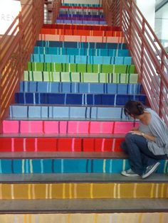 Knitted stairs in the lobby at GSD, an Austin-based ad company