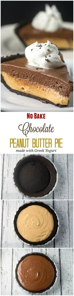 This Chocolate Peanut Butter No Bake Pie, made with Greek yogurt, makes a super easy no bake dessert for a holiday dinner or party. ~ http://FlavorMosaic.com