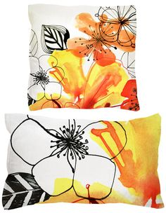 Margaret Berg Art: Hibiscus Pillows  The colours are amazing bold!