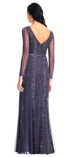 Adrianna Papell | Sequin Beaded Illusion Gown with Sheer Long Sleeves