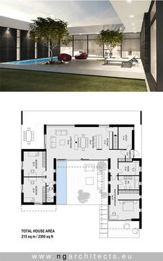 modern villa AJ designed by NG architects www.ngar… – modern villa AJ designed by NG architects www. House Layout Plans, New House Plans, Dream House Plans, Modern House Plans, House Layouts, Modern Floor Plans, Bungalow House Plans, Modern Bungalow, U Shaped House Plans