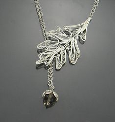 Oak Leaf Necklace Russian Filigree by selectjewelrydesigns on Etsy