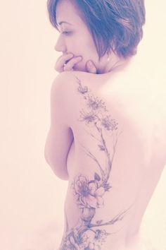 Flower tattoo on the side