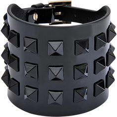 Valentino Rockstuds cuff ($290) ❤ liked on Polyvore featuring jewelry, bracelets, accessories, joias, black, leather cuff jewelry, studded jewelry, leather bangle, valentino jewelry and polish jewelry