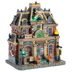 Spooky Town Haunted Museum by Lemax Halloween Lights Cast and Eerie Glow! Halloween News, Halloween Village, Halloween Displays, Halloween Haunted Houses, Halloween House, Halloween Decorations, Fall Decorations, Halloween Train, Halloween Ornaments