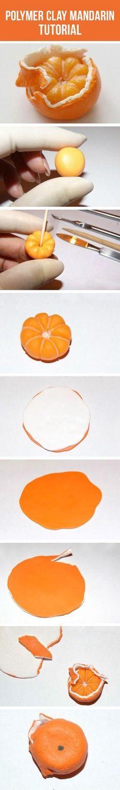 Polymer clay mandarin tutorial / Лепим мандаринку из полимерной глины