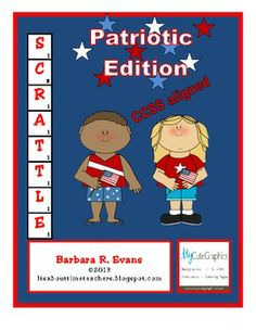 SCRATTLE: PATRIOTIC EDITION is a CCSS aligned center activity that exercises L.A. and math skills. Use it for 4th of July, Veterans Day, Memorial Day, and Presidents Day, too. FREE #CCSS #Gifted #Scrattle  #holidays #criticalthinking #higherorderthinkingskills  #enrichment #BarbEvans #itsabouttimeteachers #math #vocabulary