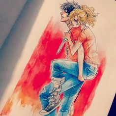 When Percy and Annabeth were in Tartarus.  This picture makes me feel so many things, I can't handle it.  And the art itself is so perfect and dead on.