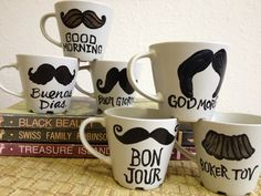 Decorated Coffee Mugs DIY - so cute and easy! Just use sharpies, then bake at 350 degrees for 30 minutes