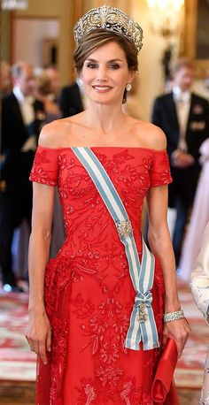 Queen Letizia of Spain attends the State banquet in honor of the Spanish State Visit. 12 July 2017.