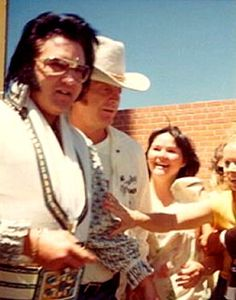 On his way to a concert in Odessa may 30th 1976 here with Red West.