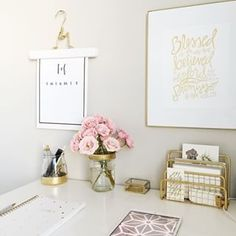 Enjoying my bright little corner on a blustery day. #pink #roses #whiteroom #foundforaged #florals #workspace