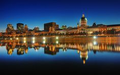 Blue Evening On Old Montreal Skyline, Quebec, Canada Old Montreal, Montreal Ville, Montreal Quebec, Montreal Food, Montreal Travel, Places Around The World, Oh The Places You'll Go, Places To Travel, Places To Visit