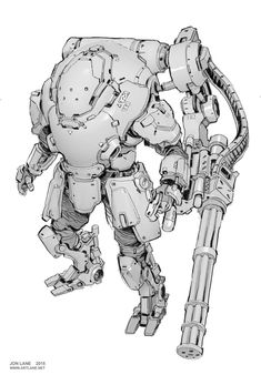 Mech design reference illustration by Jon Lane Robot Concept Art, Armor Concept, Character Concept, Character Art, Gato Anime, Arte Robot, Arte Cyberpunk, Cool Robots, Sci Fi Armor