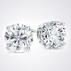 CyberMonday Diamond Studs by HadarDiamonds.com.  Beautiful, Round Brilliant, 1.38 tcw Diamond Earrings. Clarity enhanced. #diamondearrings #cybermondayspecials