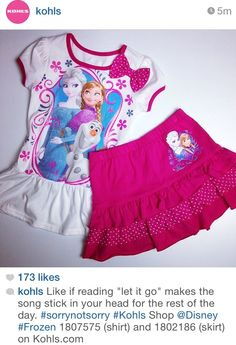 Ooh look, Kohl's has Frozen clothes for girls! They Instagrammed this set - so cute.