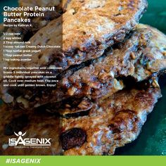 Swap flax egg and change protein powder as needed | Isagenix Chocolate Peanut Butter Pancakes. Add 1 packet stevia per batch