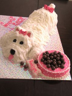 love the white and pink puppy cake